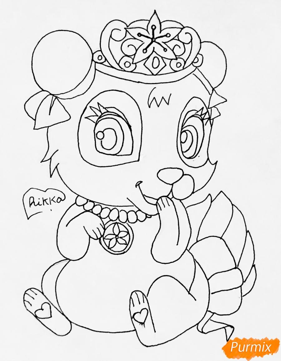 Рисуем панду Блоссом питомца Мулан из мультфильма Palace Pets - шаг 6