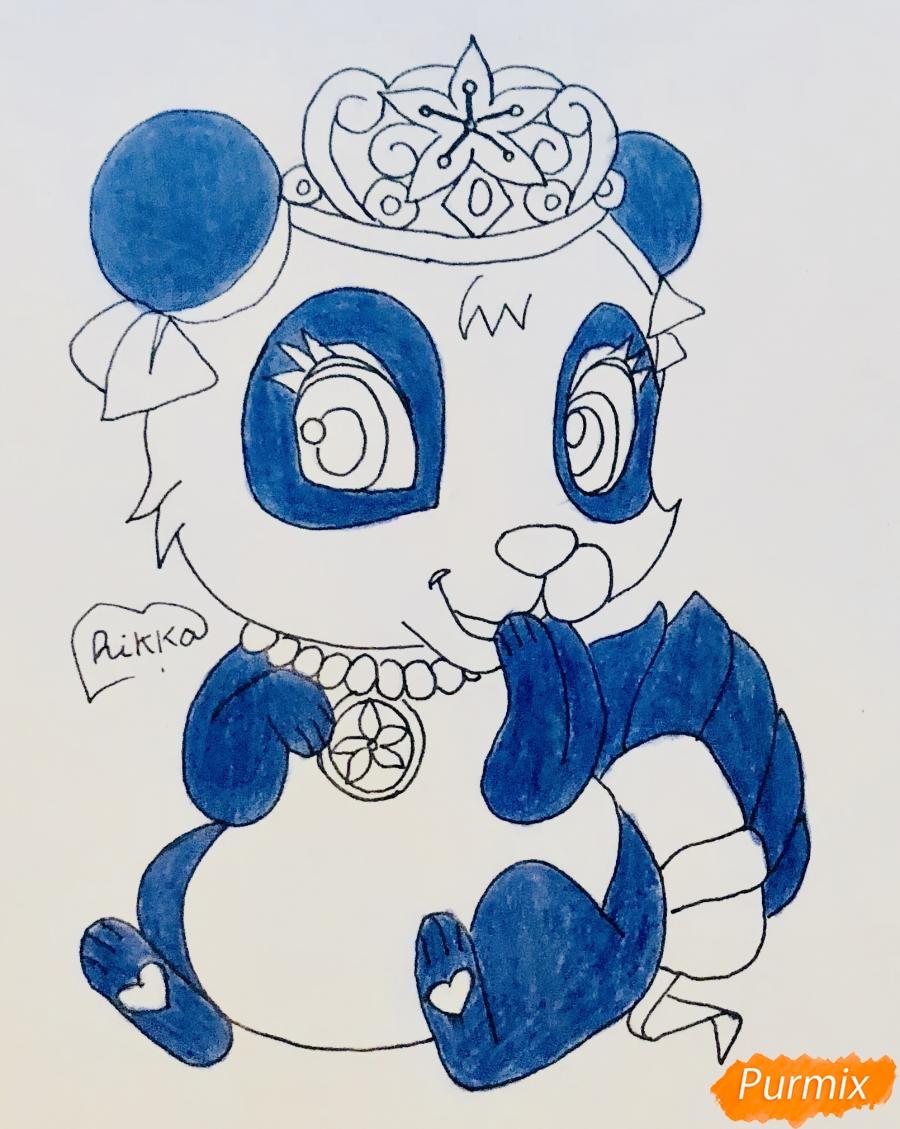 Рисуем панду Блоссом питомца Мулан из мультфильма Palace Pets - шаг 7