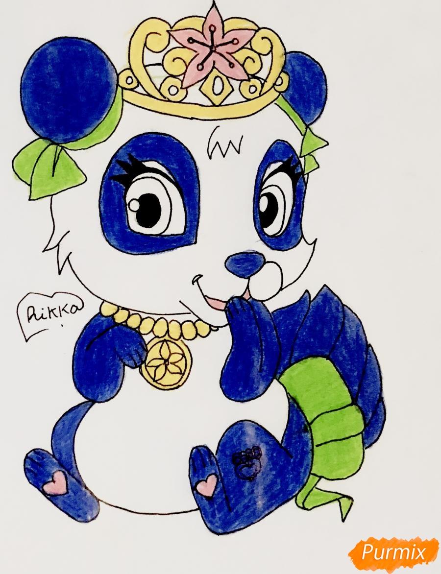 Рисуем панду Блоссом питомца Мулан из мультфильма Palace Pets - шаг 8