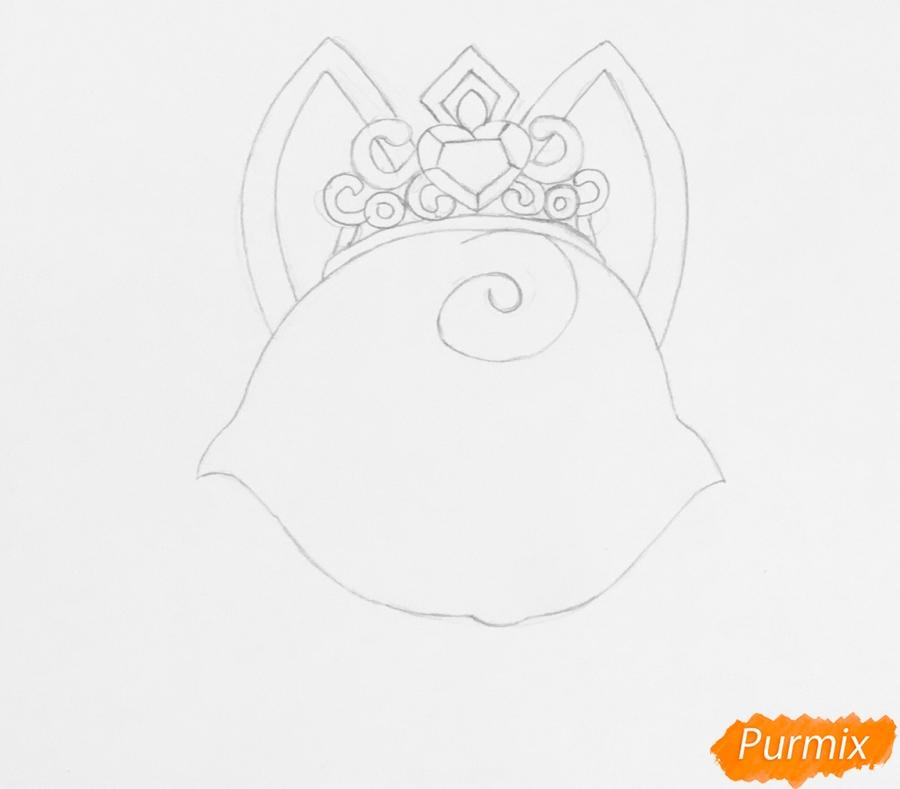 Рисуем лисичку Вострушка питомца Авроры из мультфильма Palace Pets - шаг 2