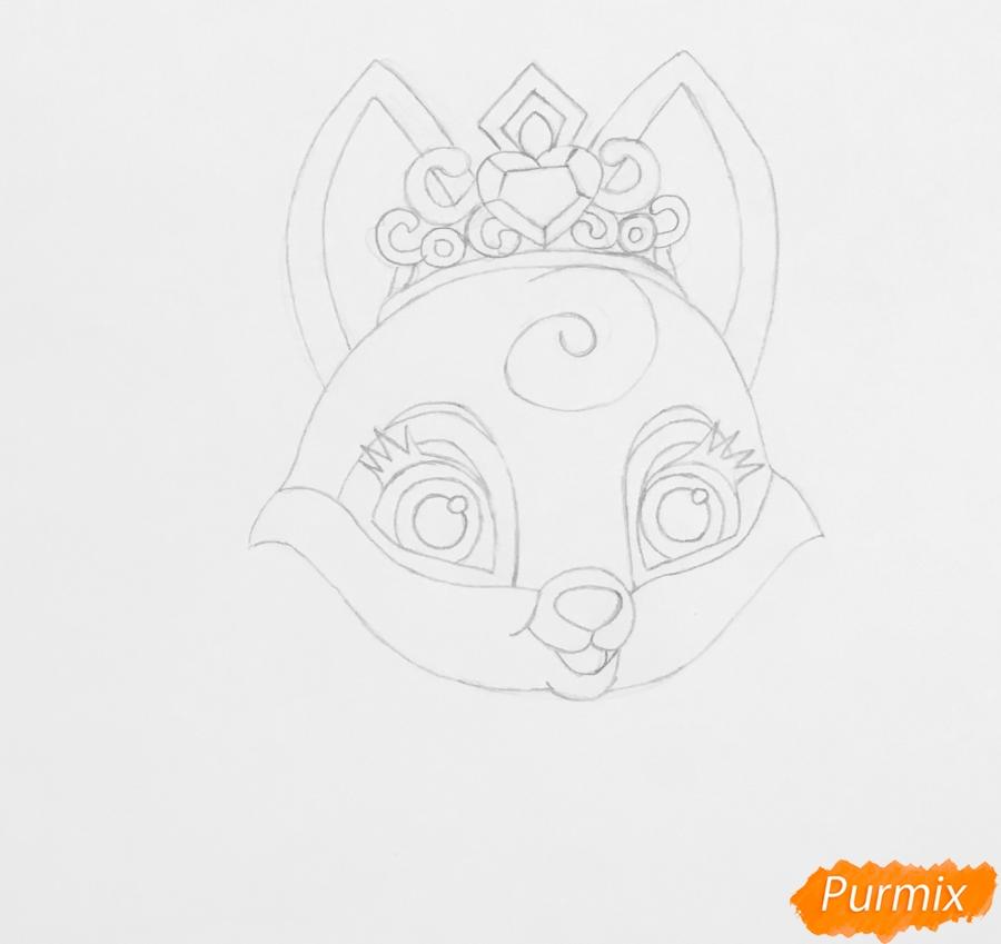 Рисуем лисичку Вострушка питомца Авроры из мультфильма Palace Pets - шаг 3