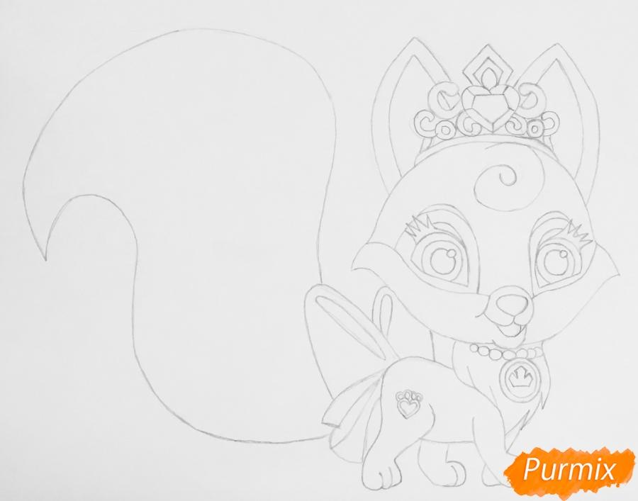 Рисуем лисичку Вострушка питомца Авроры из мультфильма Palace Pets - шаг 5