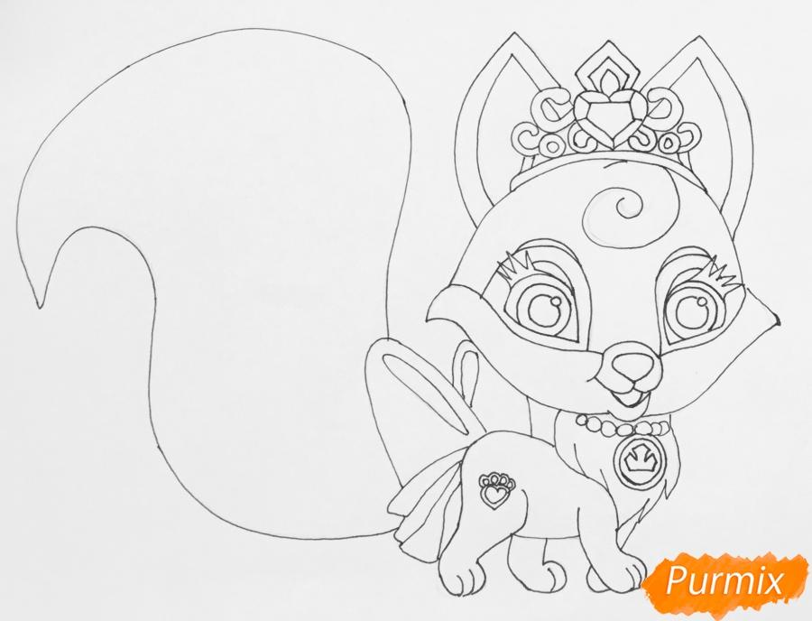Рисуем лисичку Вострушка питомца Авроры из мультфильма Palace Pets - шаг 6