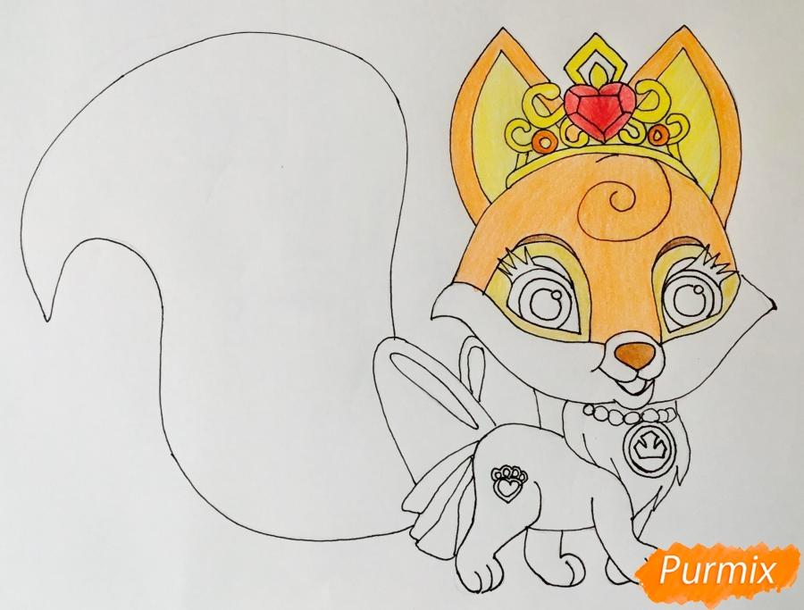 Рисуем лисичку Вострушка питомца Авроры из мультфильма Palace Pets - шаг 7