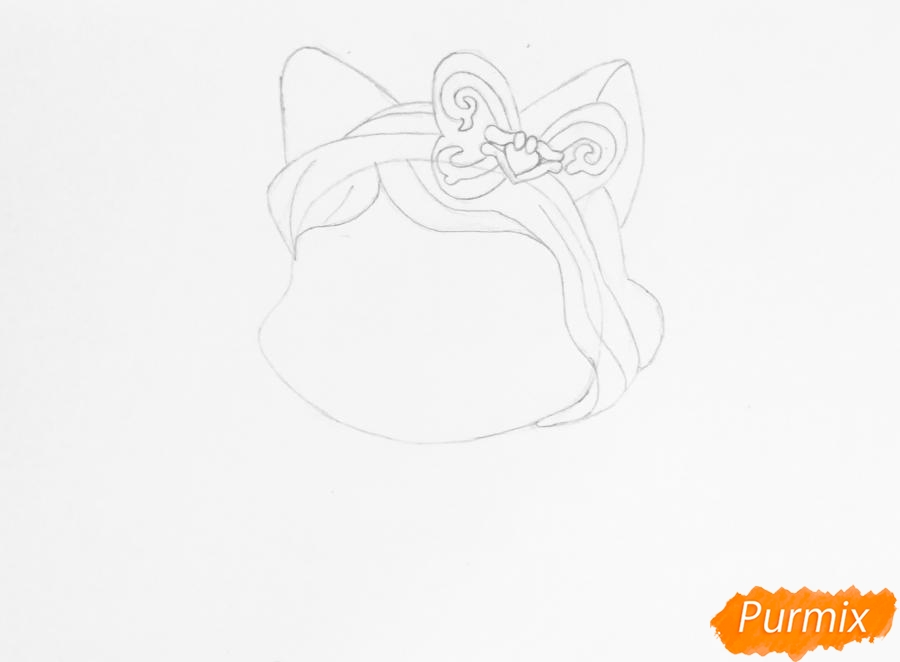 Рисуем питомца Белоснежки котёнка Пироженка из мультфильма Palace Pets - шаг 2