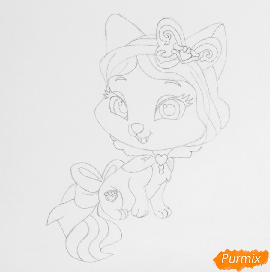 Рисуем питомца Белоснежки котёнка Пироженка из мультфильма Palace Pets - шаг 5