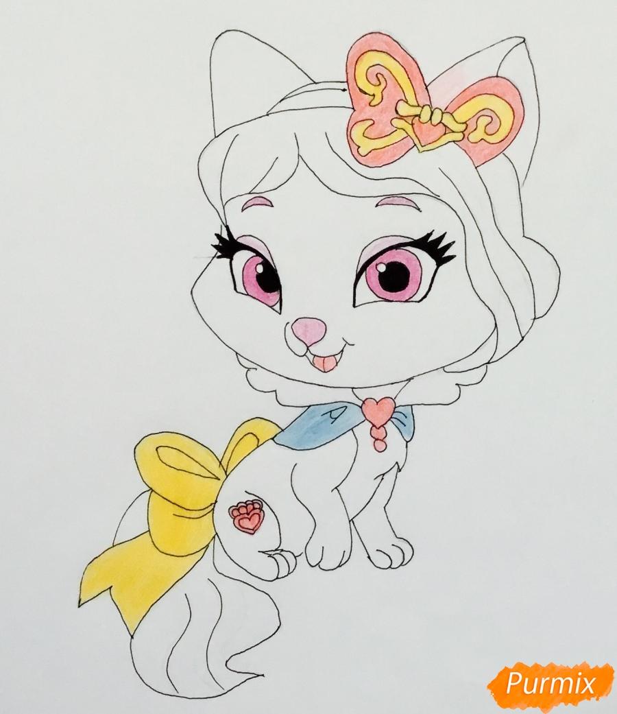 Рисуем питомца Белоснежки котёнка Пироженка из мультфильма Palace Pets - шаг 7