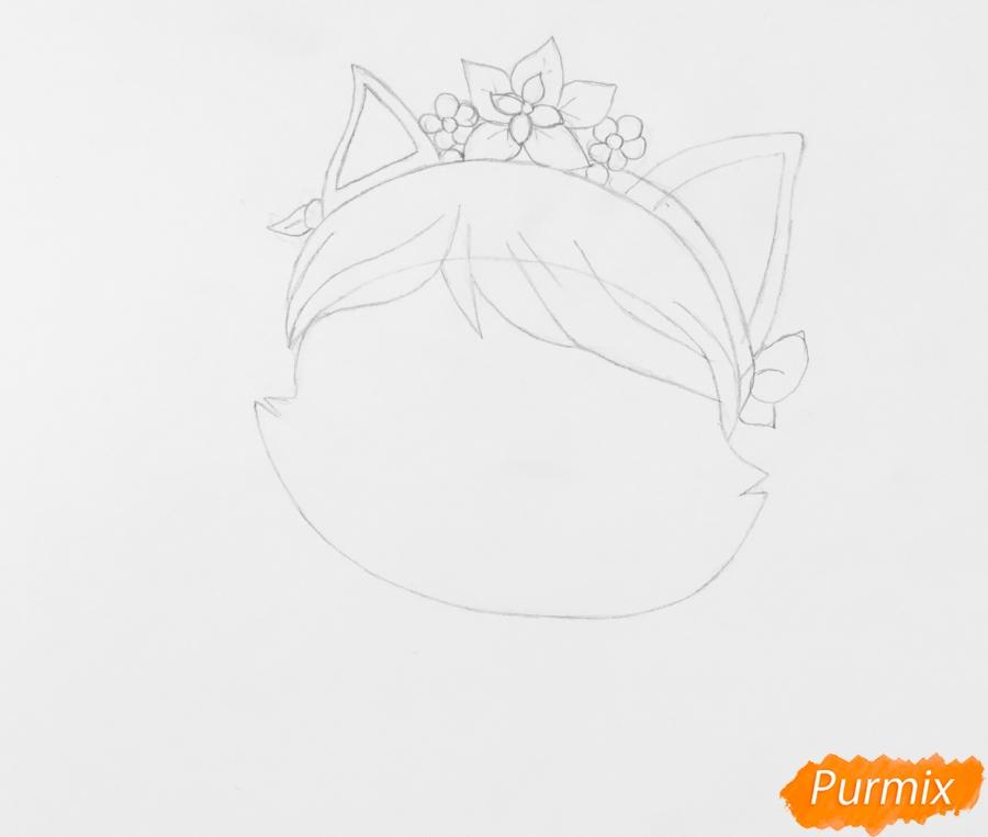 Рисуем питомца Мулан котёнка Сливку из мультфильма Palace Pets - шаг 3