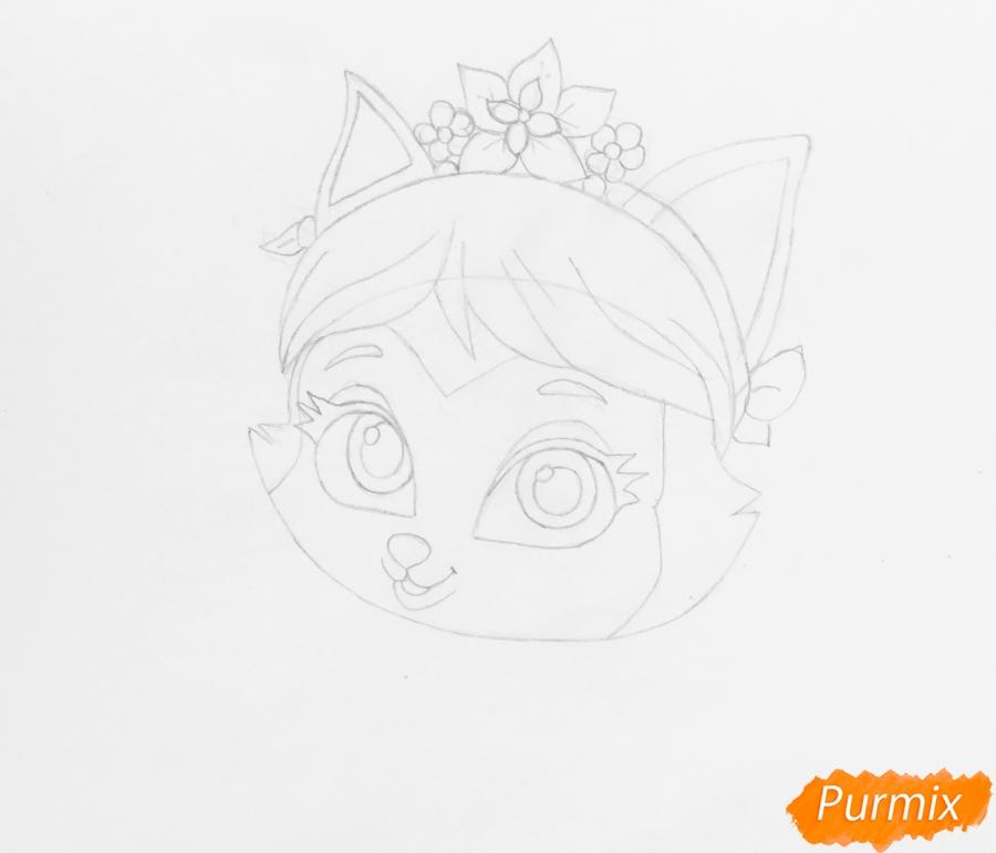 Рисуем питомца Мулан котёнка Сливку из мультфильма Palace Pets - шаг 4