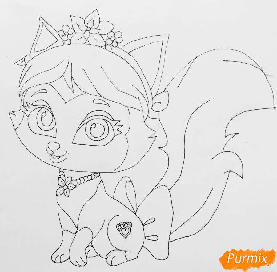 Рисуем питомца Мулан котёнка Сливку из мультфильма Palace Pets - шаг 7