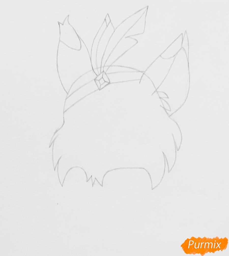 Рисуем питомца Покахонтас рысь Пёрышко из мультфильма Palace Pets - шаг 2
