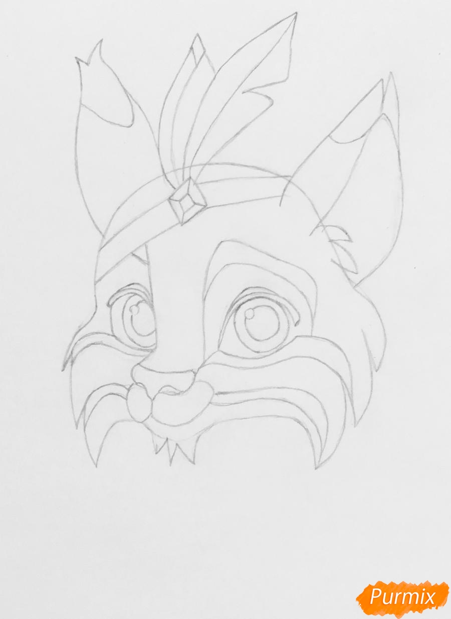 Рисуем питомца Покахонтас рысь Пёрышко из мультфильма Palace Pets - шаг 3