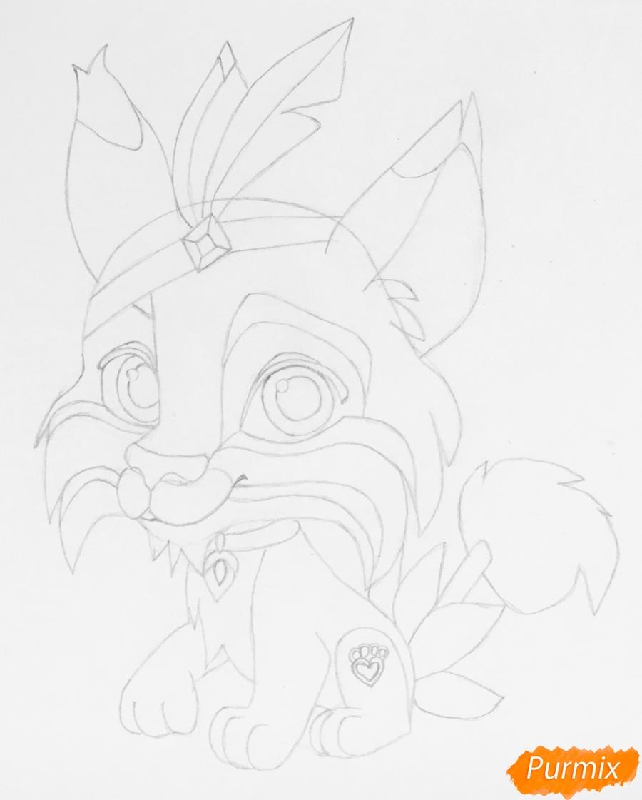 Рисуем питомца Покахонтас рысь Пёрышко из мультфильма Palace Pets - шаг 5