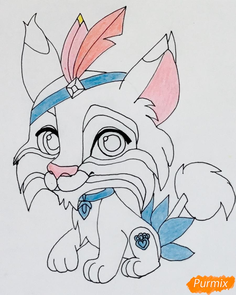 Рисуем питомца Покахонтас рысь Пёрышко из мультфильма Palace Pets - шаг 7