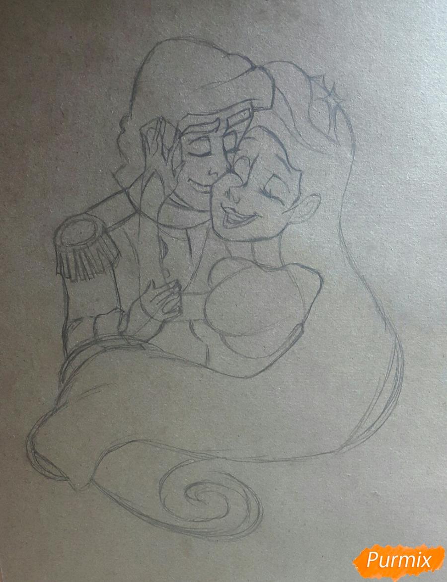 Рисуем Принца Эрика и Ариэль цветными карандашами на крафт-бумаге - шаг 3