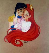 Фото принца Эрика и Ариэль цветными карандашами