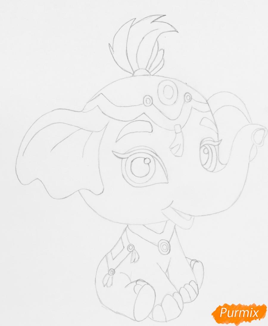 Рисуем слонёнка по имени Тай питомца Жасмин из мультфильма Palace Pets - шаг 4