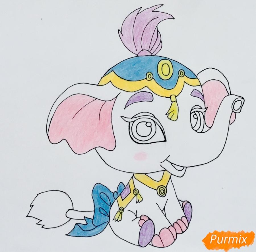 Рисуем слонёнка по имени Тай питомца Жасмин из мультфильма Palace Pets - шаг 7