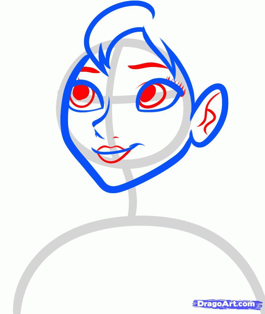 Рисуем Анну из Холодного сердца - шаг 4
