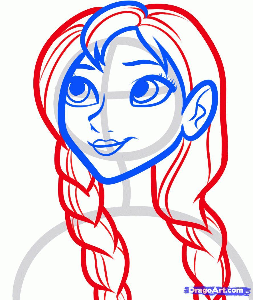 Рисуем Анну из Холодного сердца - шаг 5