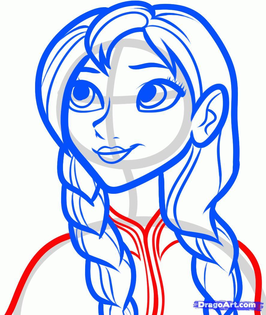 Рисуем Анну из Холодного сердца - шаг 6