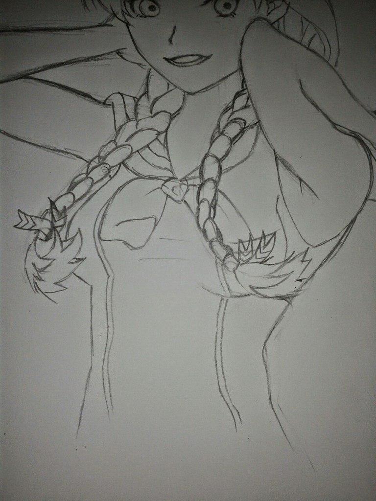 Рисуем Анну в стиле аниме карандашами - шаг 10