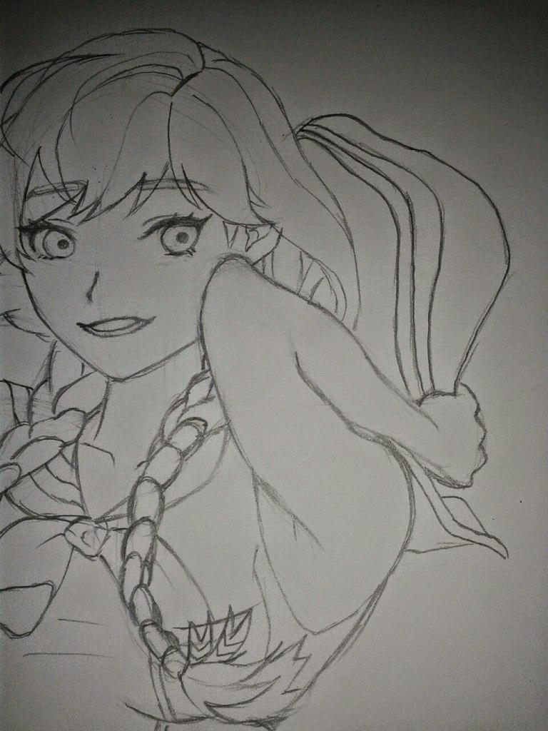 Рисуем Анну в стиле аниме карандашами - шаг 13