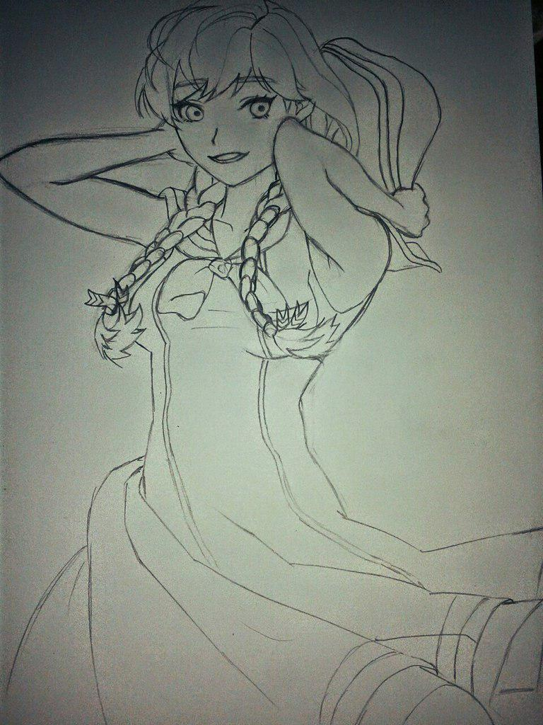 Рисуем Анну в стиле аниме карандашами - шаг 14