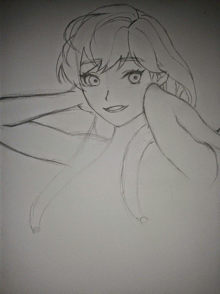 Рисуем Анну в стиле аниме карандашами - шаг 7