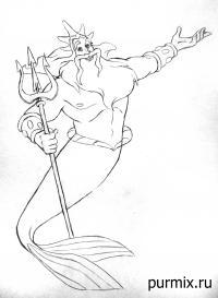 Фото царя Тритона карандашом