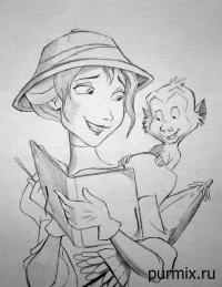 Джейн Портер и обезьянку из Тарзана простым карандашом