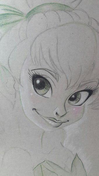 Рисуем фею Динь-Динь карандашами - шаг 10