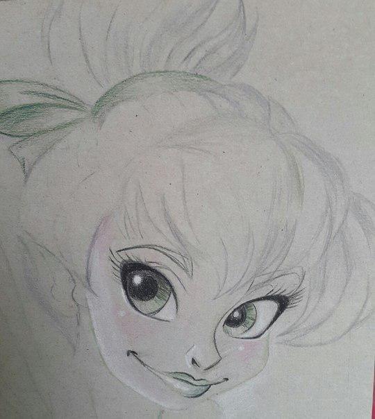 Рисуем фею Динь-Динь карандашами - шаг 11