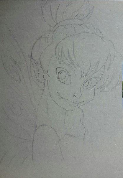 Рисуем фею Динь-Динь карандашами - шаг 6