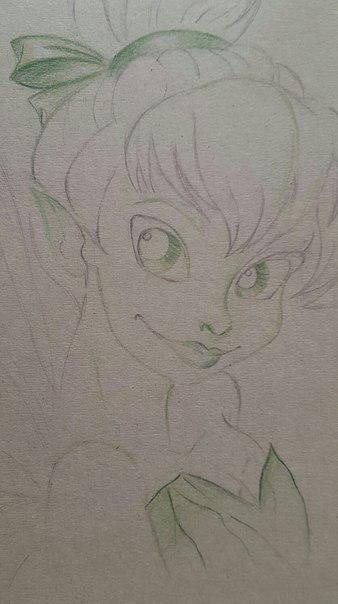 Рисуем фею Динь-Динь карандашами - шаг 8