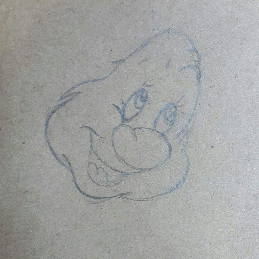 Рисуем и раскрасить Тихоню из Белоснежка и семь гномов - шаг 2