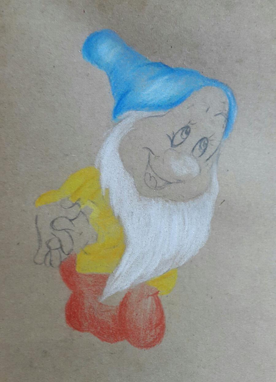 Рисуем и раскрасить Тихоню из Белоснежка и семь гномов - шаг 5