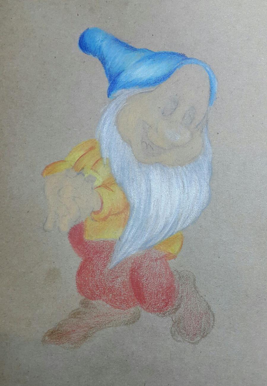Рисуем и раскрасить Тихоню из Белоснежка и семь гномов - шаг 6