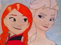 Фото Эльзу и Анну из Холодного сердца карандашом