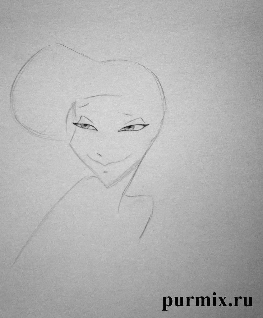 Рисуем Меган из Геркулеса простым - шаг 2