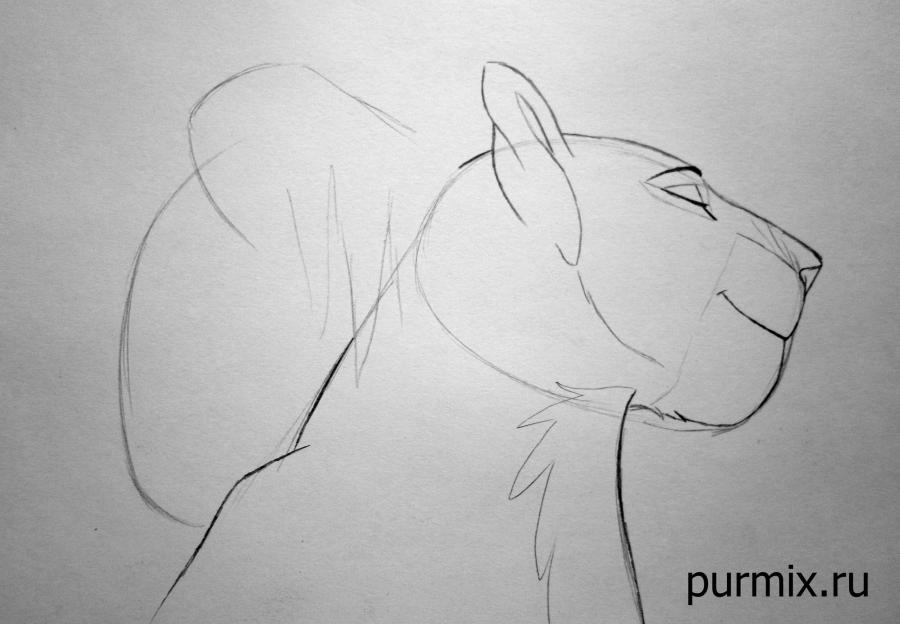 Рисуем взрослых Симбу и Налу из Король Льва 2 - шаг 3
