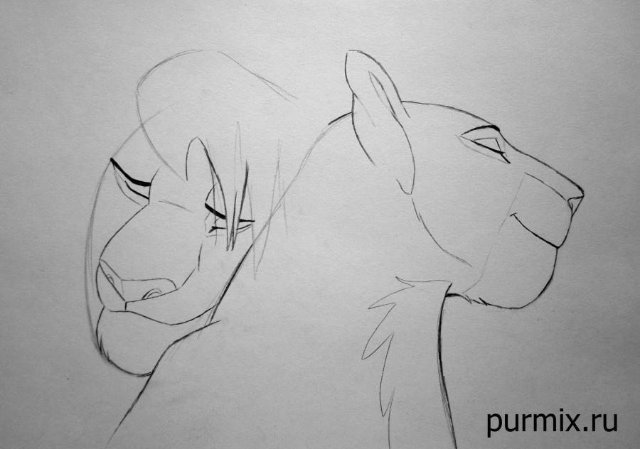 Рисуем взрослых Симбу и Налу из Король Льва 2 - шаг 4
