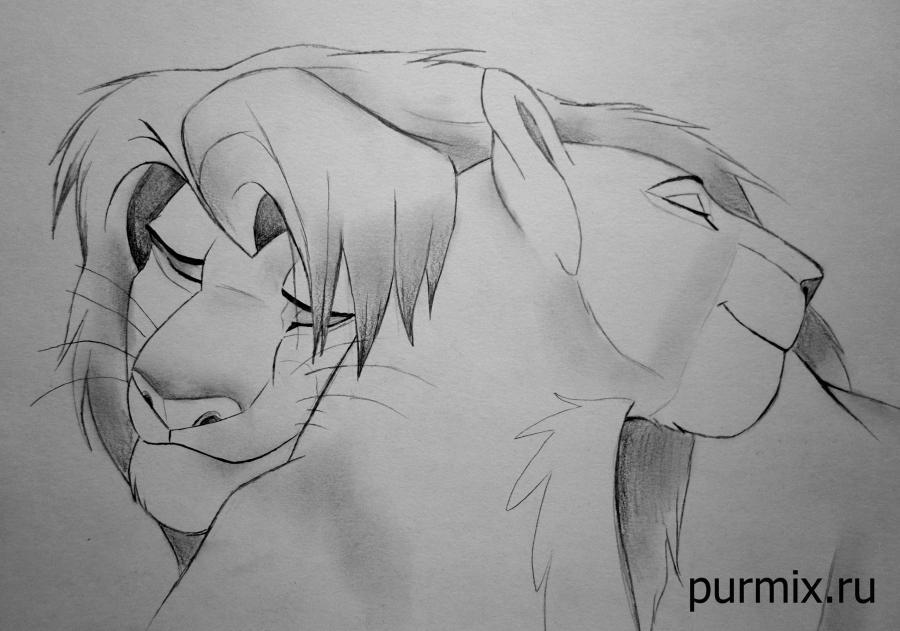 Рисуем взрослых Симбу и Налу из Король Льва 2 - шаг 6