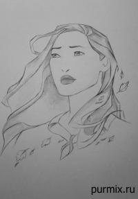 портрет Покахонтас простым карандашом