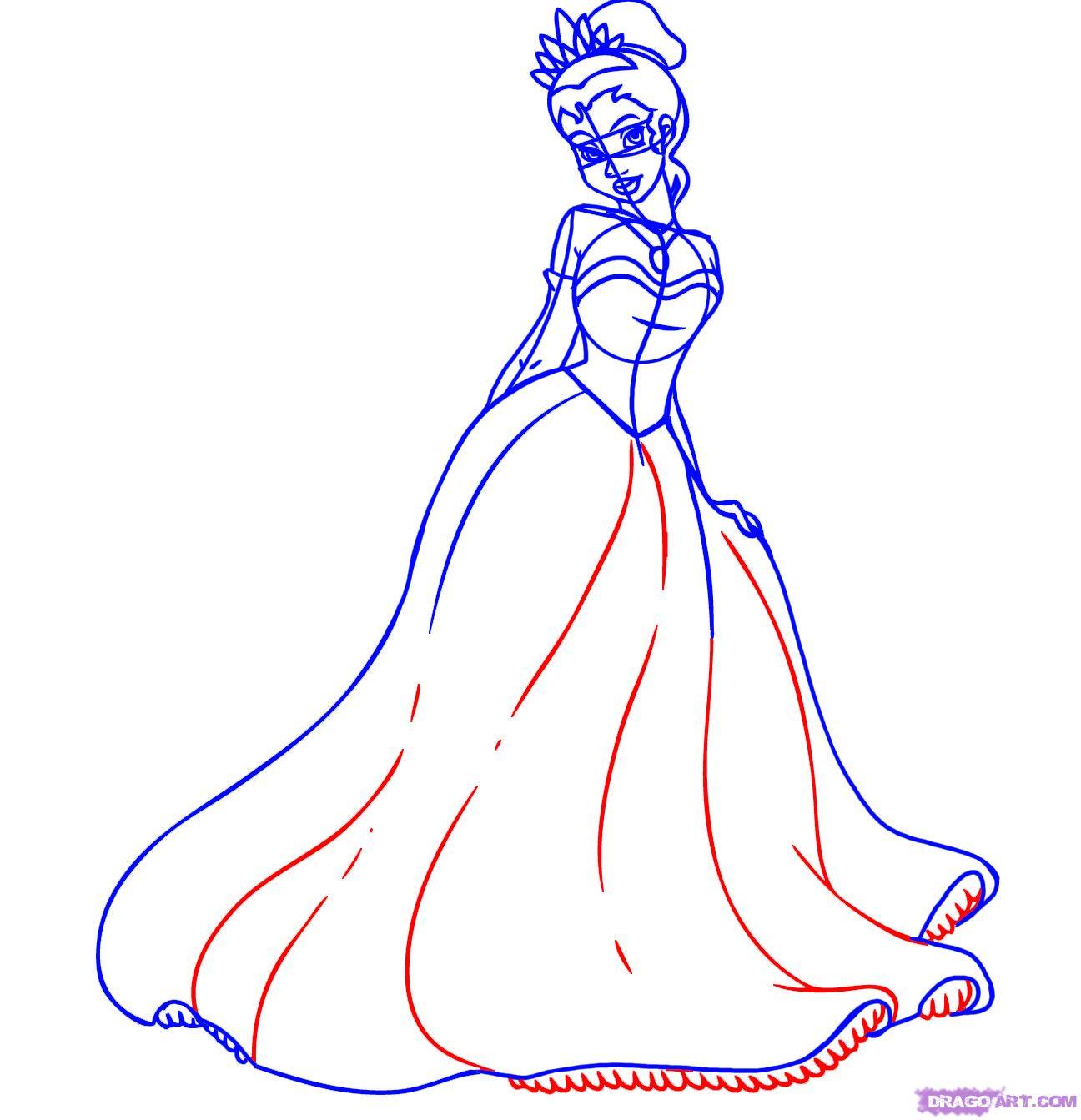 Рисуем принцессу Тиану - шаг 6