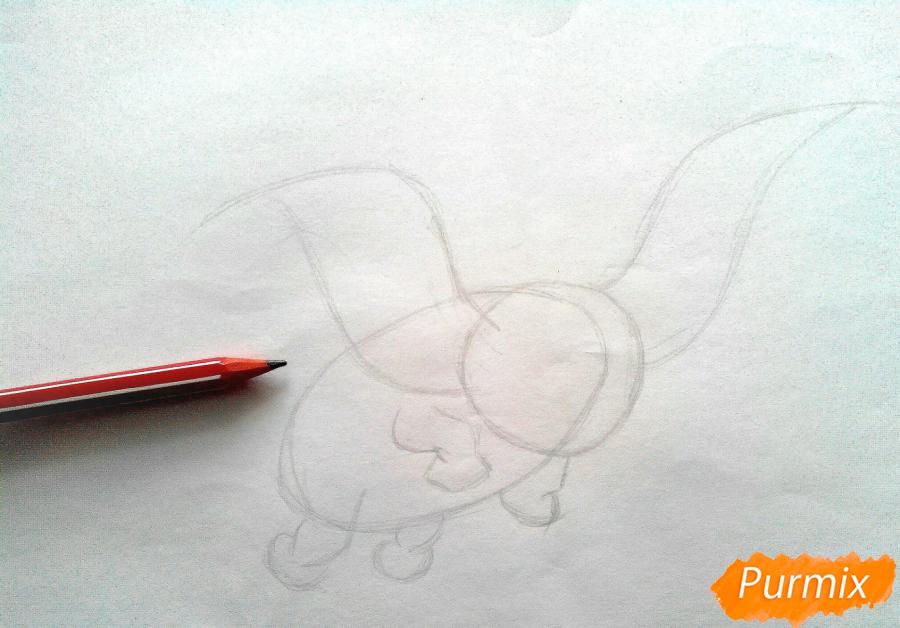 Рисуем слоненка Дамбо карандашами - шаг 1