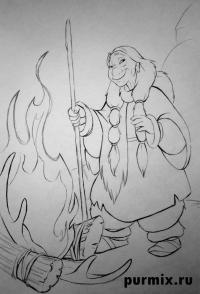 Танану из Братец медвежонок карандашом