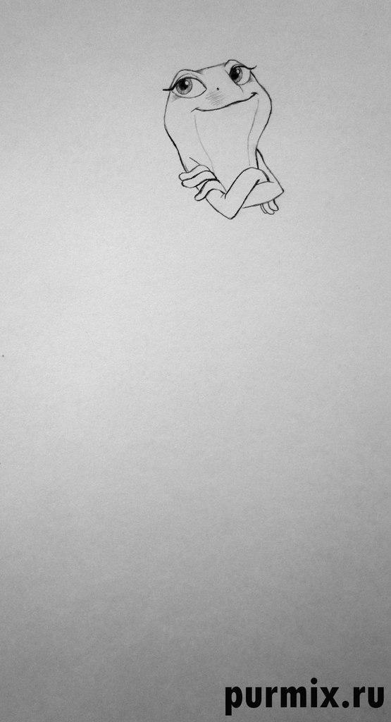 Рисуем Тиану в виде лягушки - шаг 3