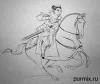 Как научиться рисовать Мулан на коне простым карандашом