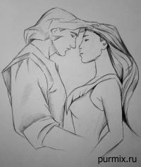 Как рисовать Джона Смита и Покахонтас карандашом
